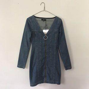Missguided Zip-up Denim Dress!